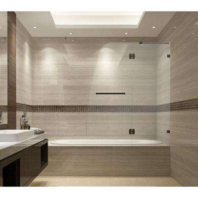 Soleil 48 in. x 58 in. Completely Frameless Hinged Tub Door in Oil Rubbed Bronze