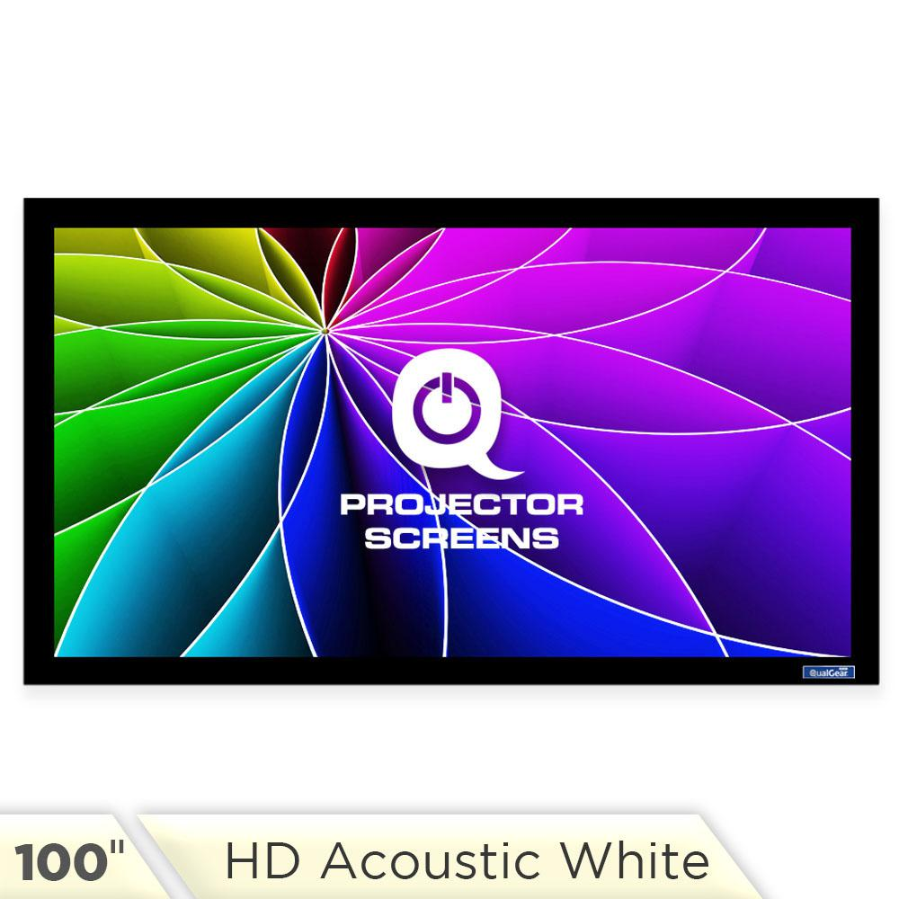 Fixed Frame Projector Screen - 16:9, 100 in. HD Acoustic White