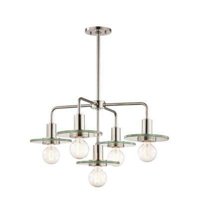 Peyton 5-Light Polished Nickel Chandelier with Clear Glass