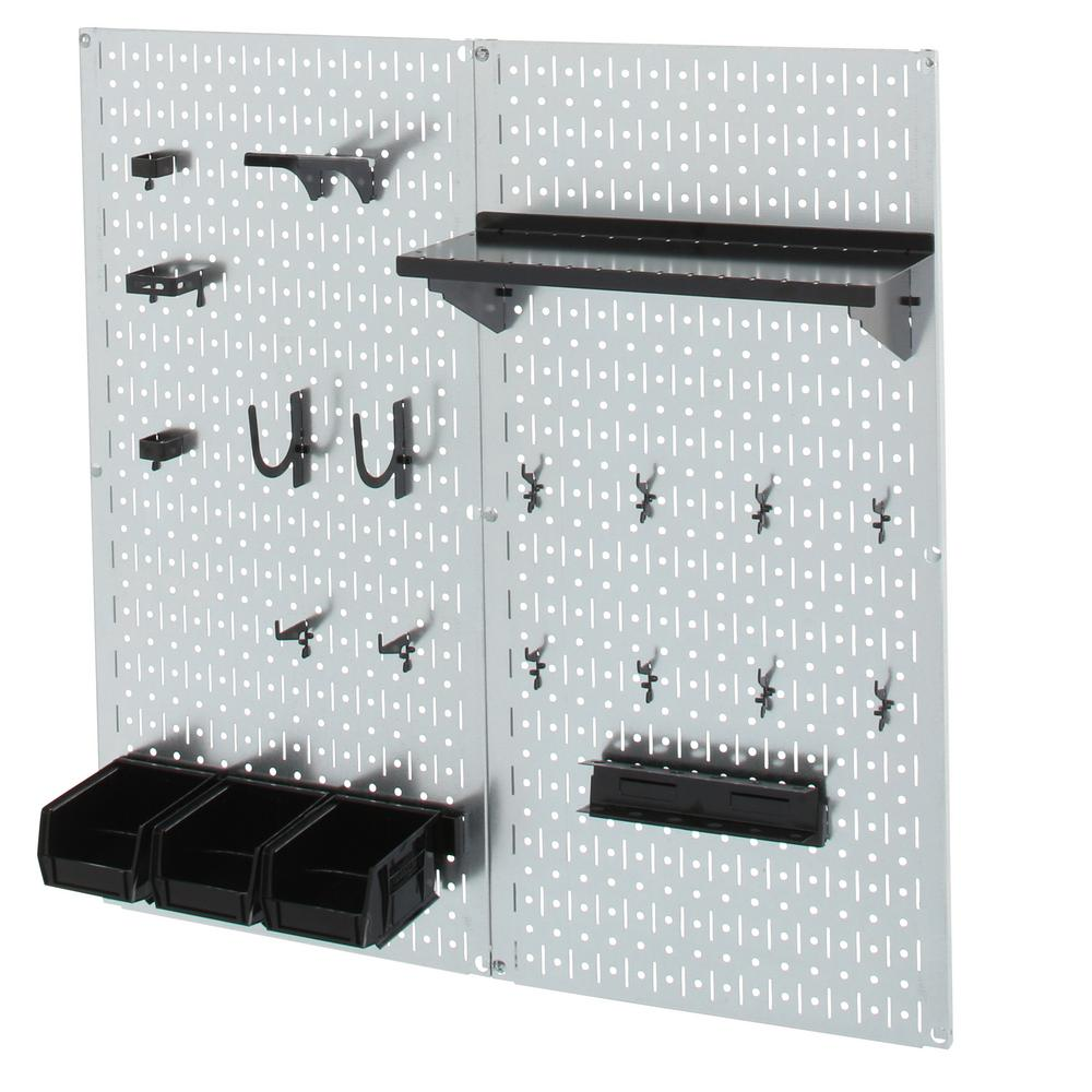 Wall Control 32 in. x 32 in. Shiny Metallic Galvanized Steel Pegboard Utility Tool Storage Kit with Black Accessories