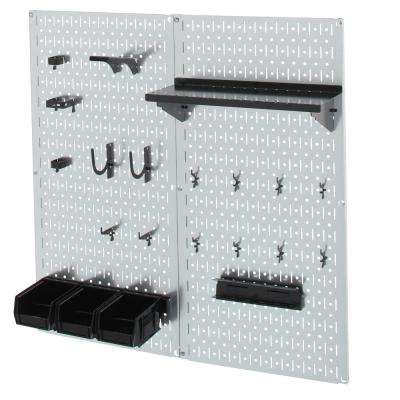 32 in. x 32 in. Shiny Metallic Galvanized Steel Pegboard Utility Tool Storage Kit with Black Accessories