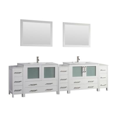 Brescia 108 in. W x 18 in. D x 36 in. H Bathroom Vanity in White with Double Basin Top in White Ceramic and Mirrors
