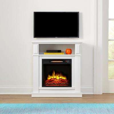 Albury 31 in. Freestanding Compact Infrared Electric Fireplace in White