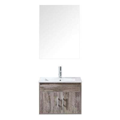 Amalfi 24 in. W x 18 in. D Vanity in Natural with Vanity Top in Whte with White Basin and Mirror