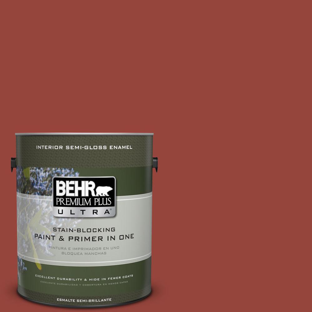 BEHR Premium Plus Ultra 1-gal. #PPU2-17 Morocco Red Semi-Gloss Enamel Interior Paint