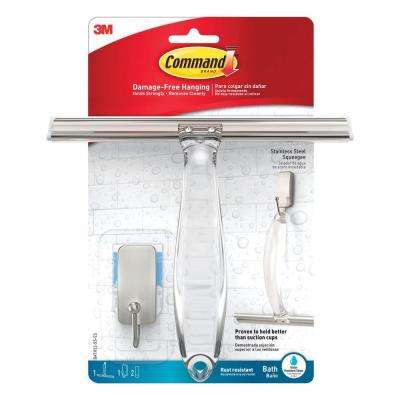 Shower Squeegee with Water Resistant Strips in Satin Nickel