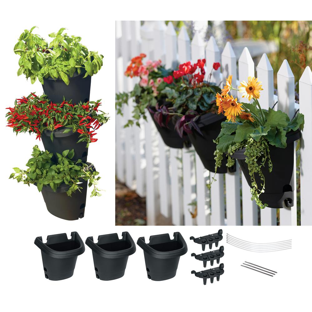 Hanging Garden Planter Kit System in Black (3 Pack)