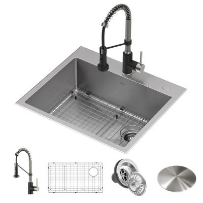 Loften All-in-One Dual Mount Stainless Steel 25in. Single Bowl Kitchen Sink with Pull Down Faucet in Black and Steel