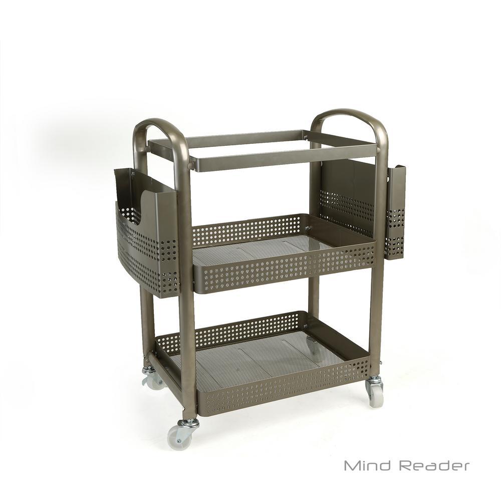 2-Tier Heavy Duty Metal 4-Wheeled Mobile File Cart in Silver