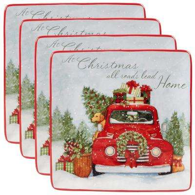 Home For Christmas Multicolor Dinner Plate (Set of 4)