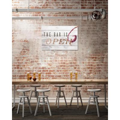 """16 in. x 24 in. """"The Bar Is Open Rose Gold"""" by Oliver Gal Printed Framed Canvas Wall Art"""