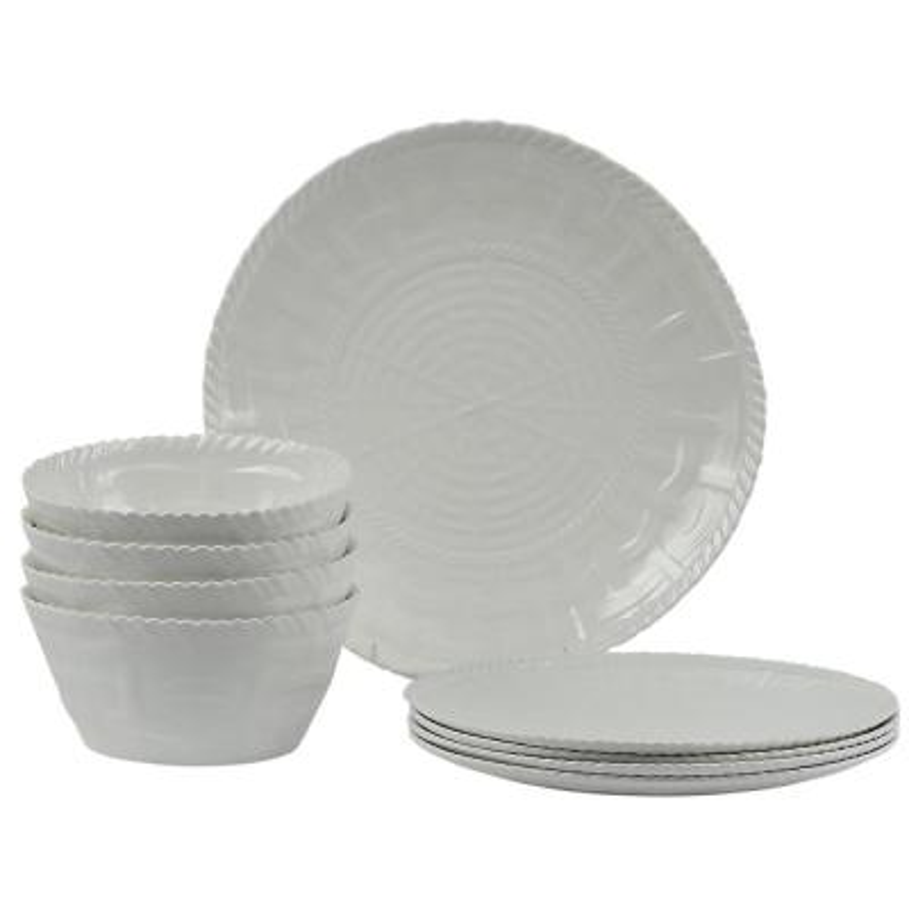 Woven 12-Piece White Dinnerware Set