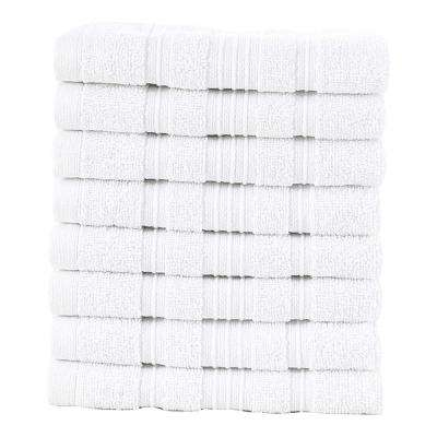 Pure Turkish Cotton Collection 13 in. W x 13 in. H Luxury Washcloth in White (Set of 8)