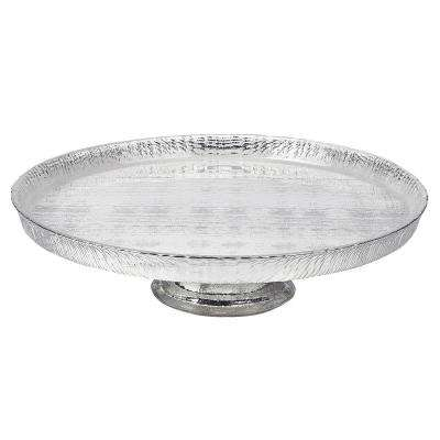 Tuscany Antique Silver 13 in. Footed Glass Cake Plate