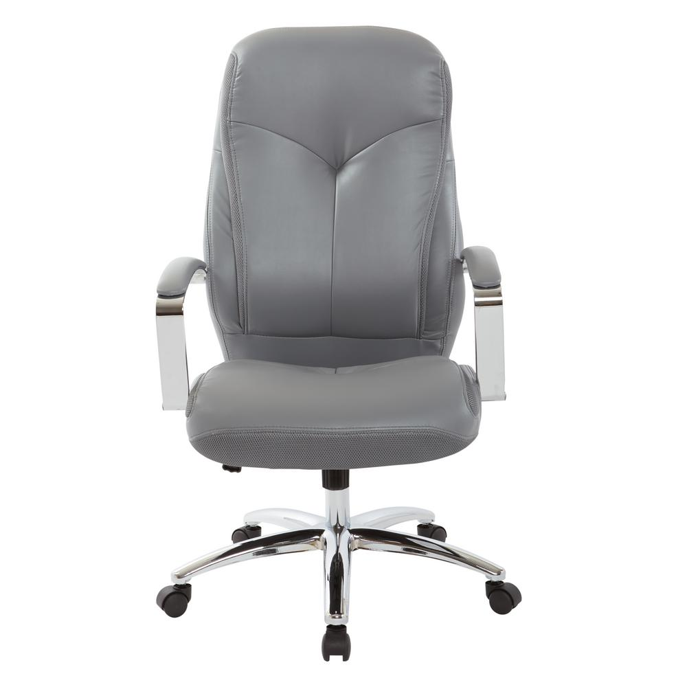 Clifton Charcoal Grey Mesh Office Chair with and Charcoal Grey Faux
