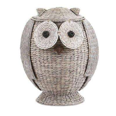 Owl 21 in. H x 16.5 in. W Grey Hamper with Removable Lid