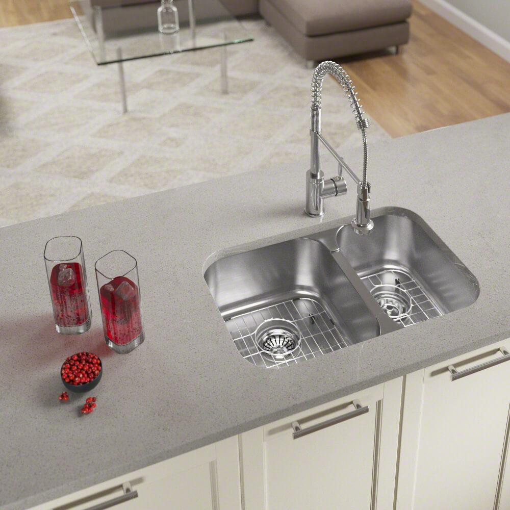 MR Direct All-in-One Undermount Stainless Steel 28 in. Left Double Bowl Kitchen Sink