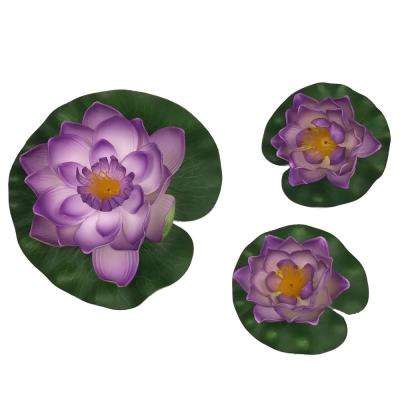 Decorative Floating Artificial Purple Lotus Water Lilies (3-Piece)