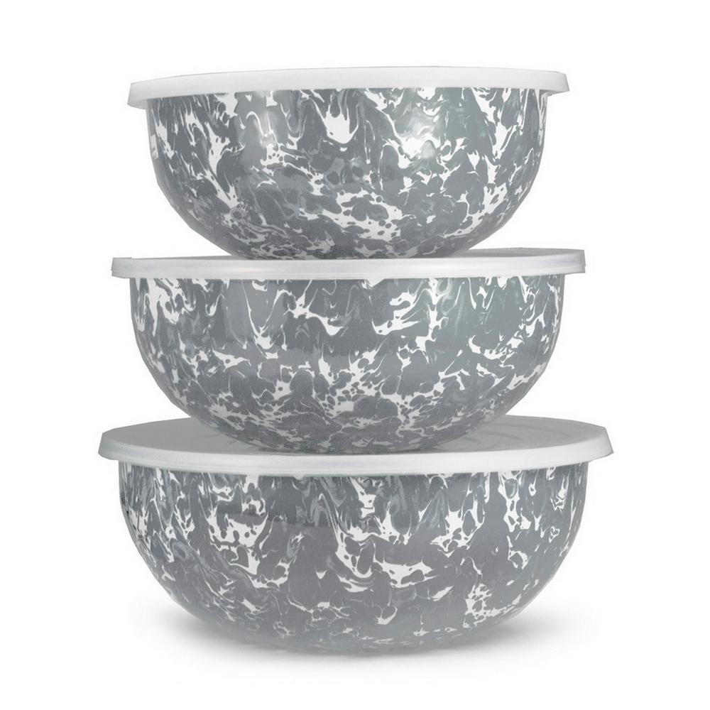 Grey Swirl 3-Piece Enamelware Mixing Bowl Set with Lids