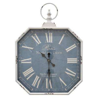 23 in. Metal Wall Clock in White