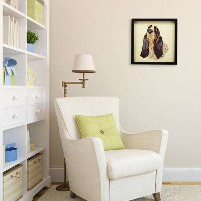 """17 in. x 17 in. """"Basset Hound"""" Dimensional Collage Framed Graphic Art Under Glass Wall Art"""