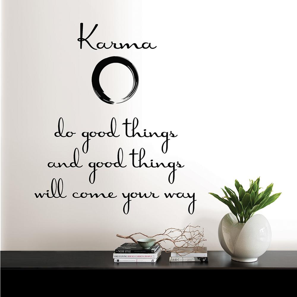 Wallpops Black Karma Quote Wall Decal Dwpq2100 The Home Depot