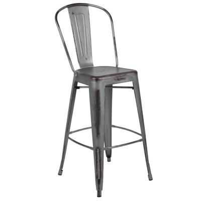 Distressed Silver Metal Outdoor Bar Stool