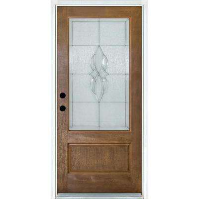 36 in. x 80 in. Scotia Medium Oak Right-Hand Inswing 3/4 Lite Decorative Fiberglass Prehung Front Door