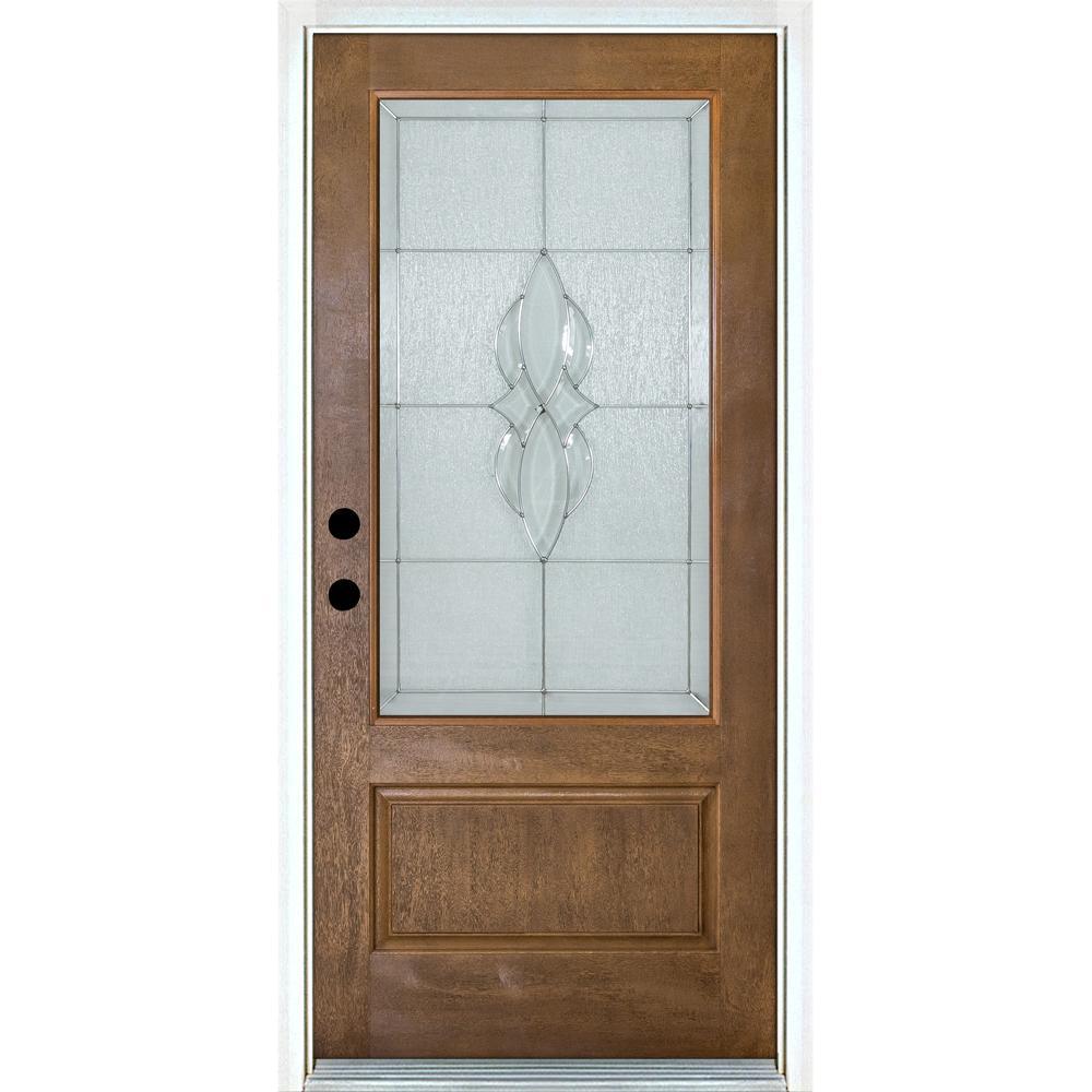 36 in. x 80 in. Scotia Medium Oak Right-Hand Inswing 3/4 Lite Decorative Fiberglass Prehung Front Door
