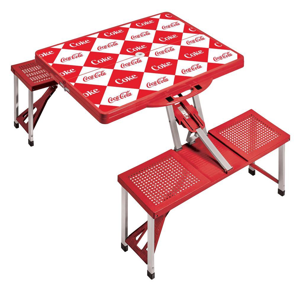 Coca-Cola Red Checkered Print Portable Picnic Table