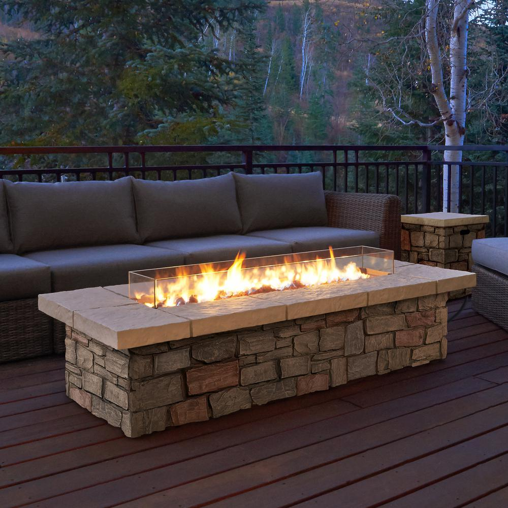wonderful Rectangular Propane Fire Pit Kit Part - 2: Real Flame Sedona 66 in. x 19 in. Rectangle Fiber-Concrete Propane Fire