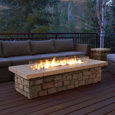 Sedona 66 in. x 19 in. Rectangle Fiber-Concrete Propane Fire Pit in Buff with Natural Gas Conversion Kit