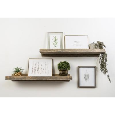 Rustic Luxe 36 in. W x 10 in. D Floating Gray Decorative Shelves (Set of 2)