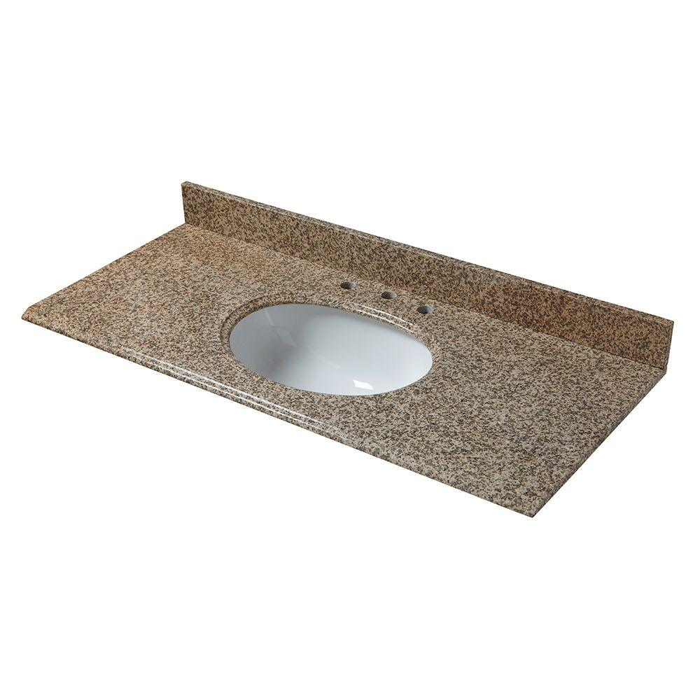 null 49 in. W Granite Vanity Top in Montesol with White Bowl and 8 in. Faucet Spread