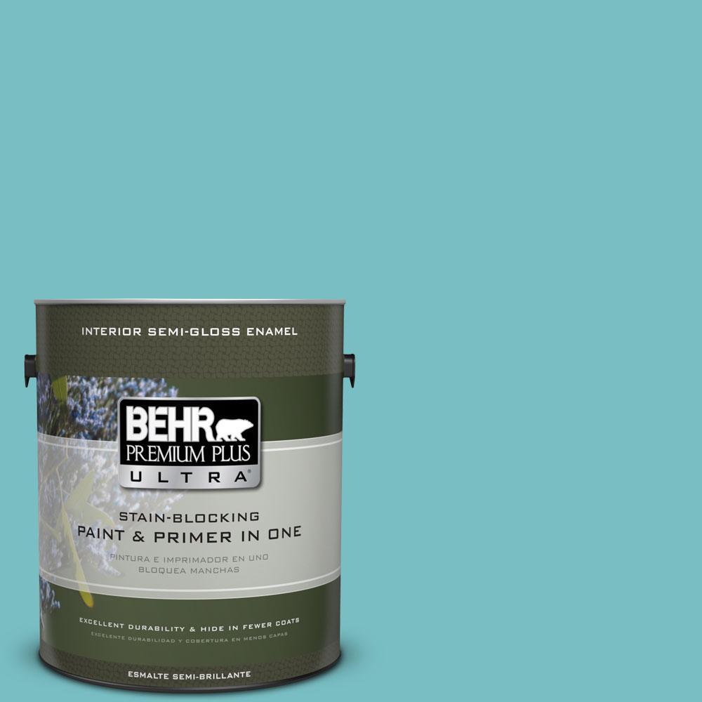 BEHR Premium Plus Ultra 1-gal. #M460-4 Pure Turquoise Semi-Gloss Enamel Interior Paint