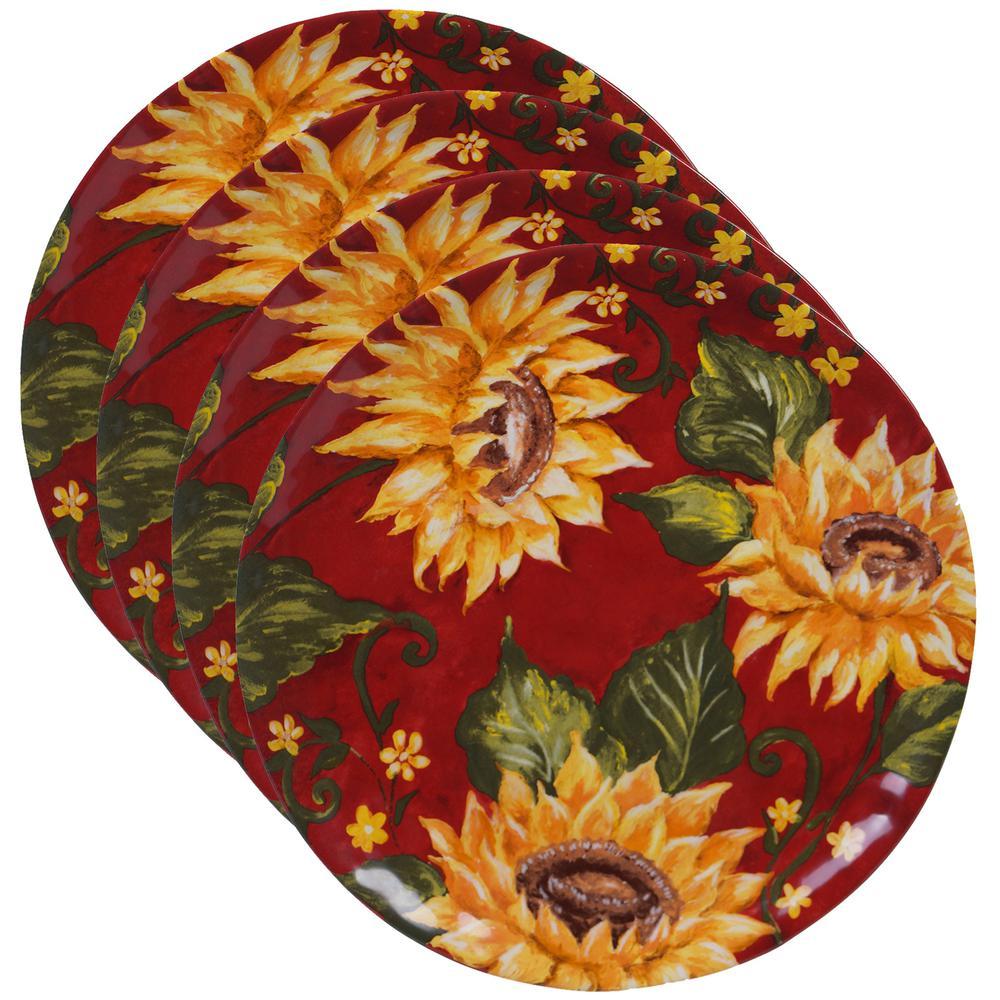 Sunset Sunflower Multi-color Dinner Plate (Set of 4)