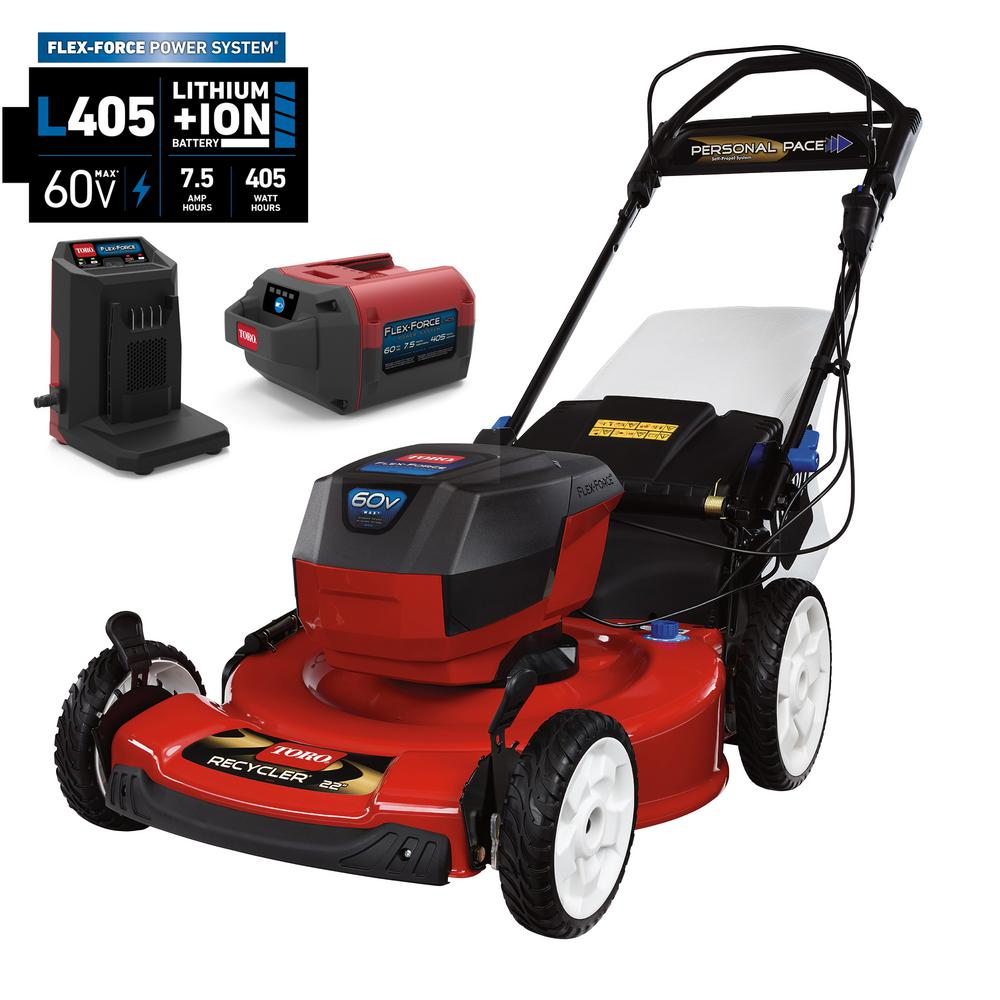 Toro 22 in. Recycler 60-Volt Lithium-Ion Cordless Battery Walk Behind Self Propelled Mower - 7.5 Ah Battery/Charger Included