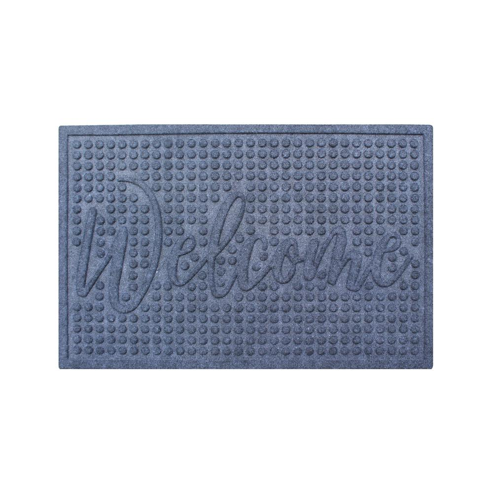 Welcome Eco Poly 24 in. x 36 in. Grey Entrance Mat