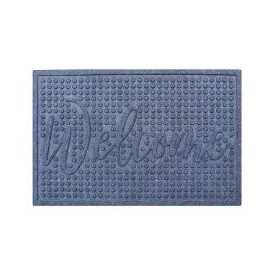 Welcome Eco Poly 24 in. x 36 in. Grey Entrance Mat with Anti Slip Fabric