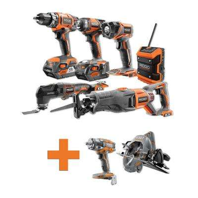 18-Volt Lithium-Ion Cordless Combo Kit (6-Tool) (2) 4Ah Batt and Charger w/Bonus Brushless Circ and Impact Wrench