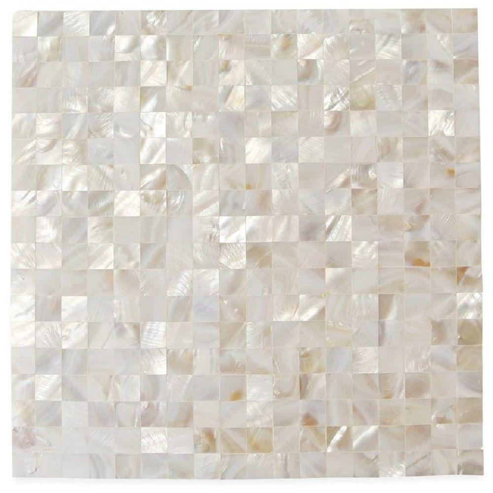 Ivy Hill Tile Mother Of Pearl Serene White Squares 12 in. x 12 in. x 2 mm Seamless Pearl Shell Glass Wall Mosaic Tile