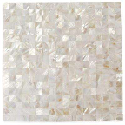 Mother Of Pearl Serene White Squares 12 in. x 12 in. x 2 mm Seamless Pearl Shell Glass Wall Mosaic Tile