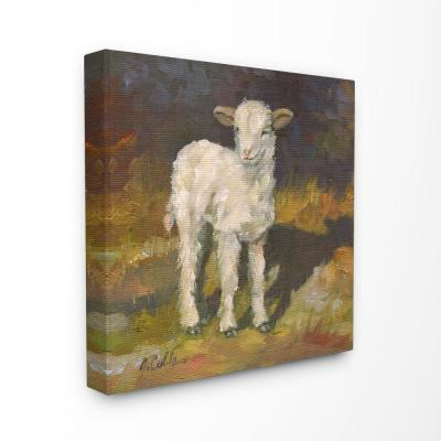 "24 in. x 24 in. ""Soft and Sweet Baby Lamb and Shadow Oil Painting"" by Jerry Cable Canvas Wall Art"
