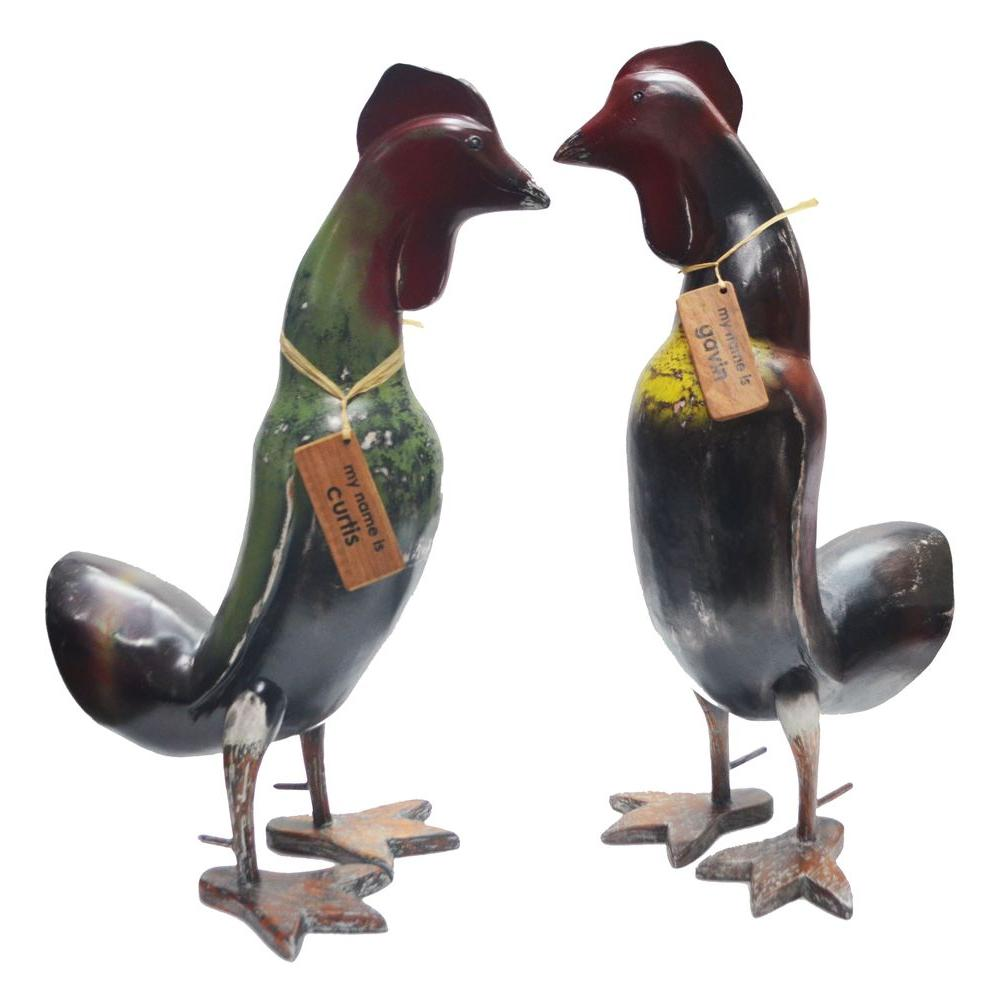 South Seas 18 in. Hand-Carved Wooden Rooster Statue