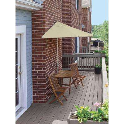 Terrace Mates Villa Deluxe 5-Piece Patio Bistro Set with 7.5 ft. Antique Beige Olefin Half-Umbrella