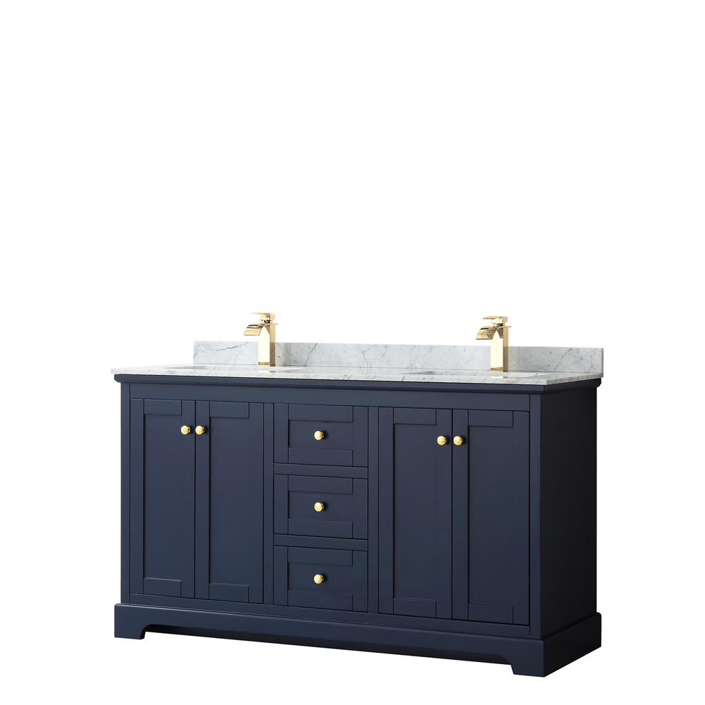 Wyndham Collection Avery 60 in. W x 22 in. D Bathroom Vanity in Dark Blue with Marble Vanity Top in White Carrara with White Basins