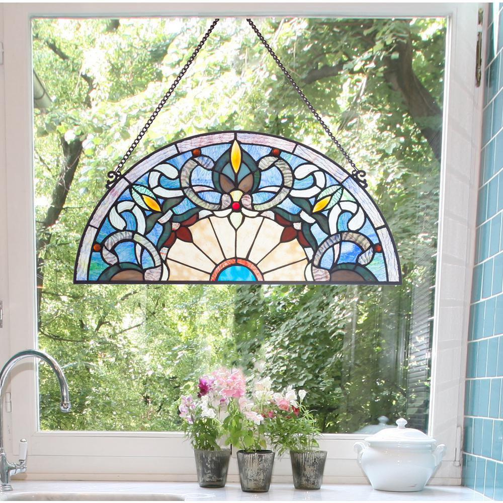 River Of Goods Blue Victorian Corista Half Moon Stained Gl Window Panel 19324 The Home Depot
