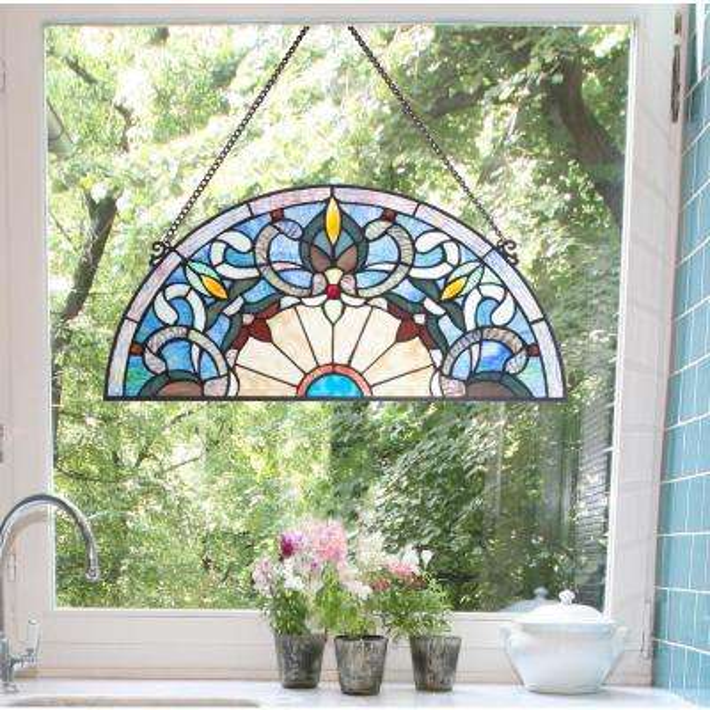 Blue Victorian Corista Half-Moon Stained Glass Window Panel