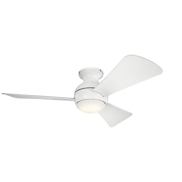 Sola 44 in. Integrated LED Indoor Matte White Flush Mount Ceiling Fan with Light Kit and Wall Control