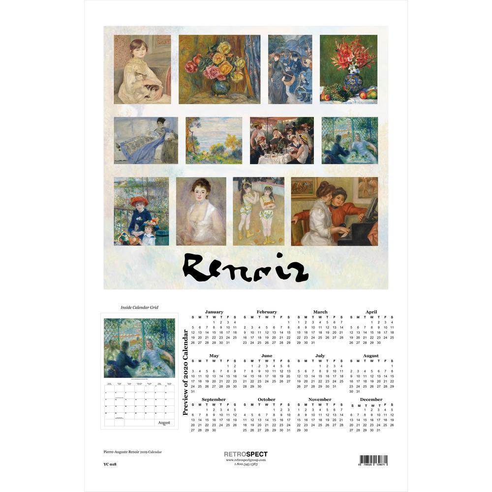 19 in. x 12.5 in. Pierre-Auguste Renoir - 2019 Calendar